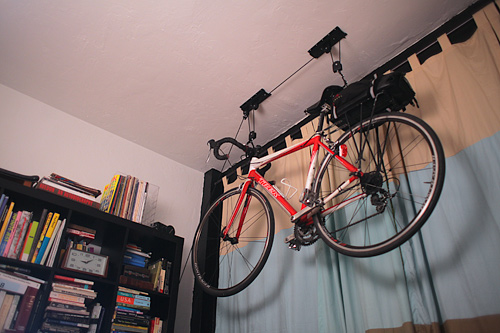 bike hanging from ceiling