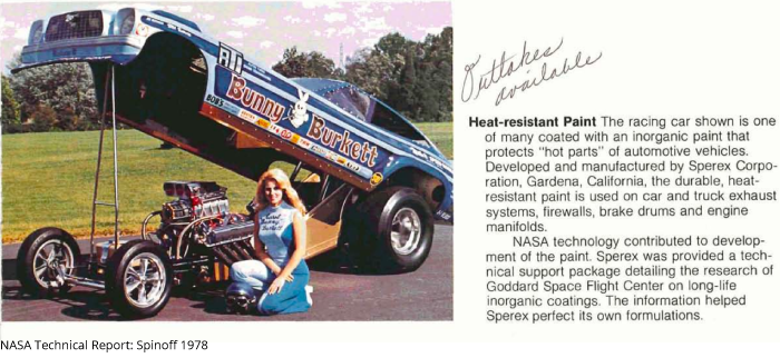 A page from a NASA report featuring drag racer Bunny Burkett