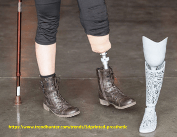 This picture shows a traditional prosthetic for a person with a below-the-knee amputation and the 3D-printed replacement on the right.