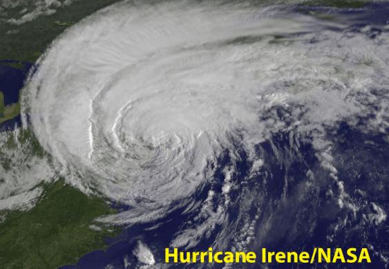 A NASA image of Hurricane Irene from 2011