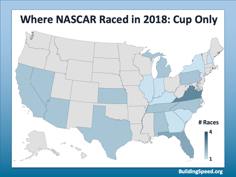 A map of the U.S. showing the locations of the Cup Races
