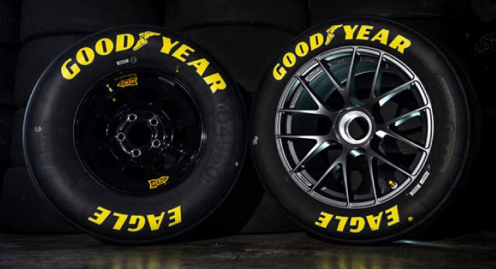 "The current 15"" wheel on the left, with the prototype new 18"" NextGen wheel on the right."