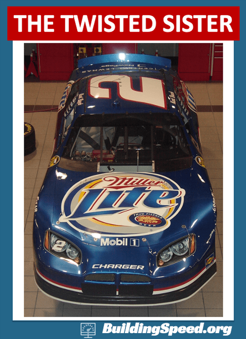 The 'twisted sister' NASCAR racecar looked like it had already been in an accident before it even got out on track.