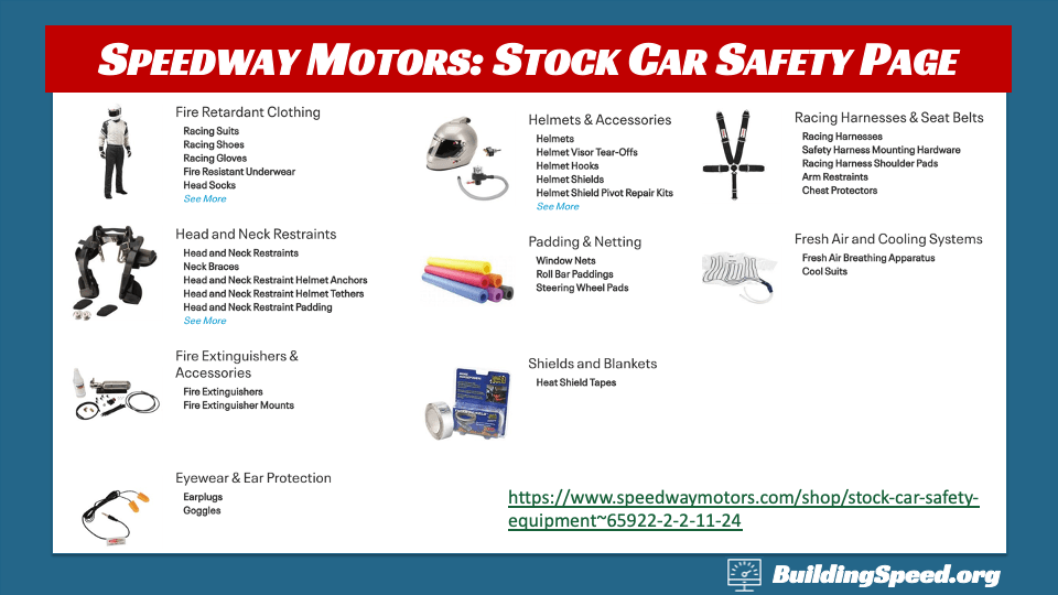 Speedway Motors stock car safety page