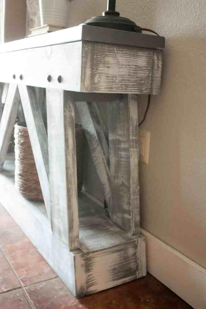 DIY slim truss console table