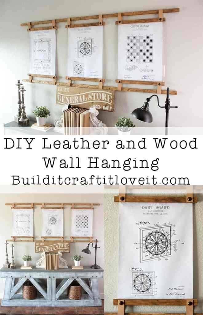 DIY Leather and Wood Wall Hanging