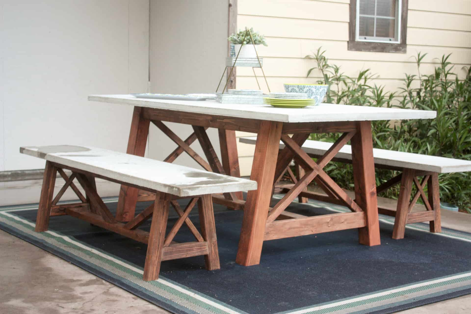 X Base Outdoor Concrete Dining Table Build It Craft It Love It