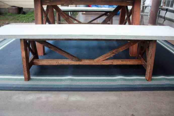 X Base Concrete Top Outdoor Bench