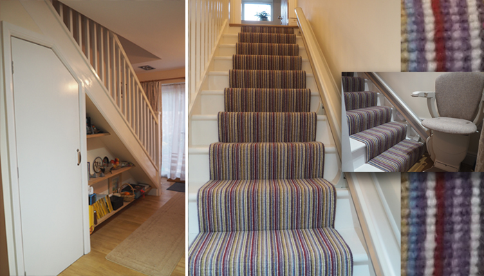 Staircase wide enough for good under stairs storage as well as fitted shelves.