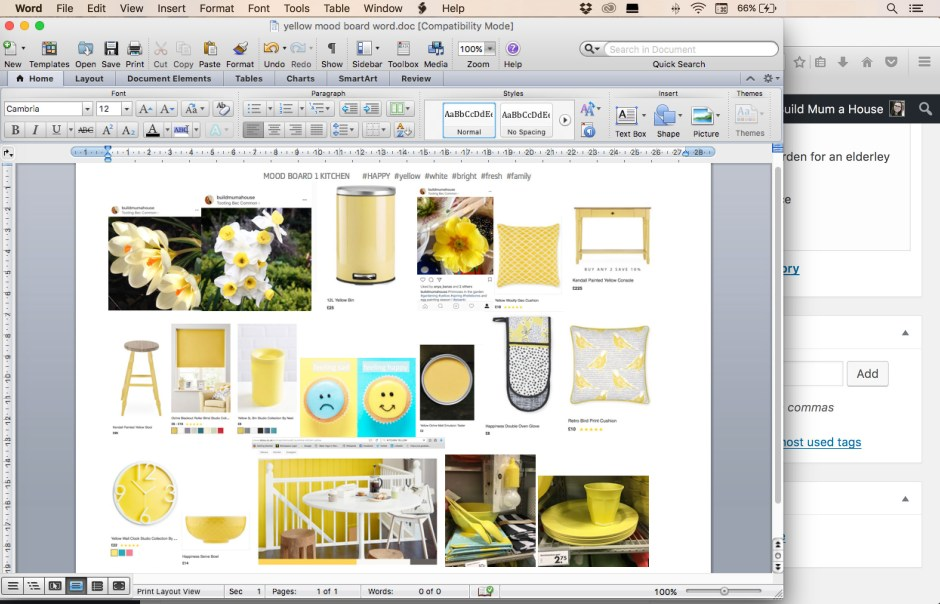 Made in Word a mood board #happy #yellow #and #white, buildmumahouse mood board, Jola Piesakowska mood board happy