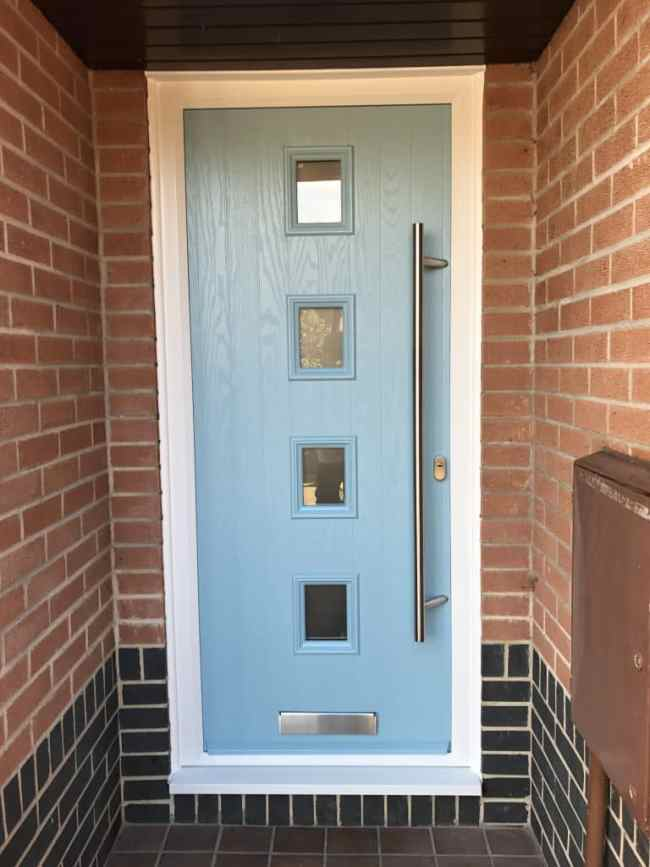 4 square Duck Egg Blue composite door