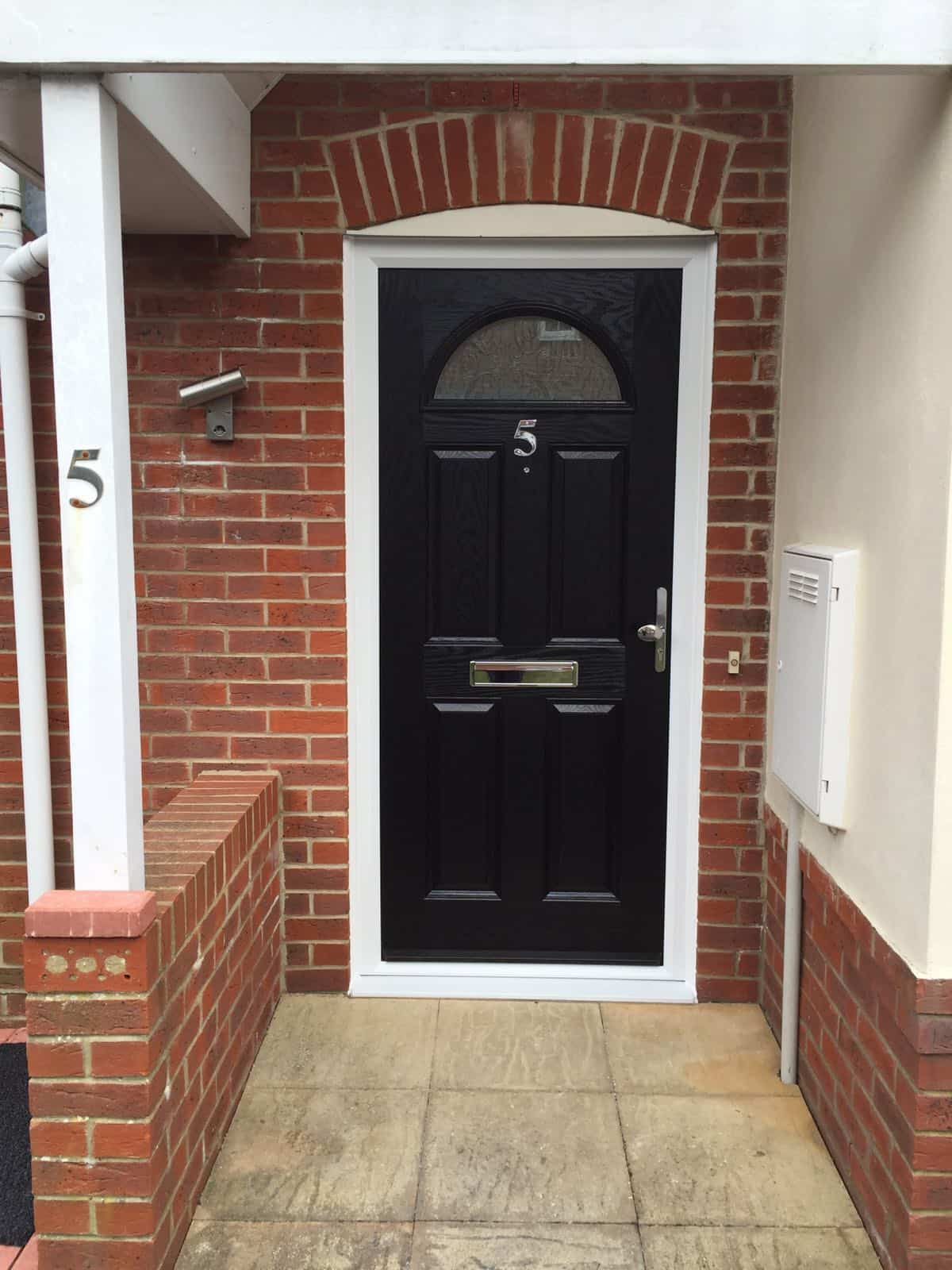 black 4 panel 1 arch composite door