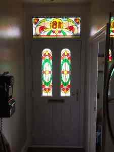 composite front door with bespoke glass internal view