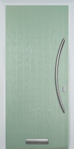 chartwell green cottage composite door with long bow hardware