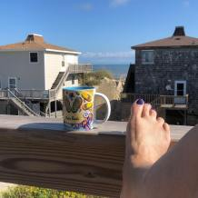 Coffee on the deck at the beach