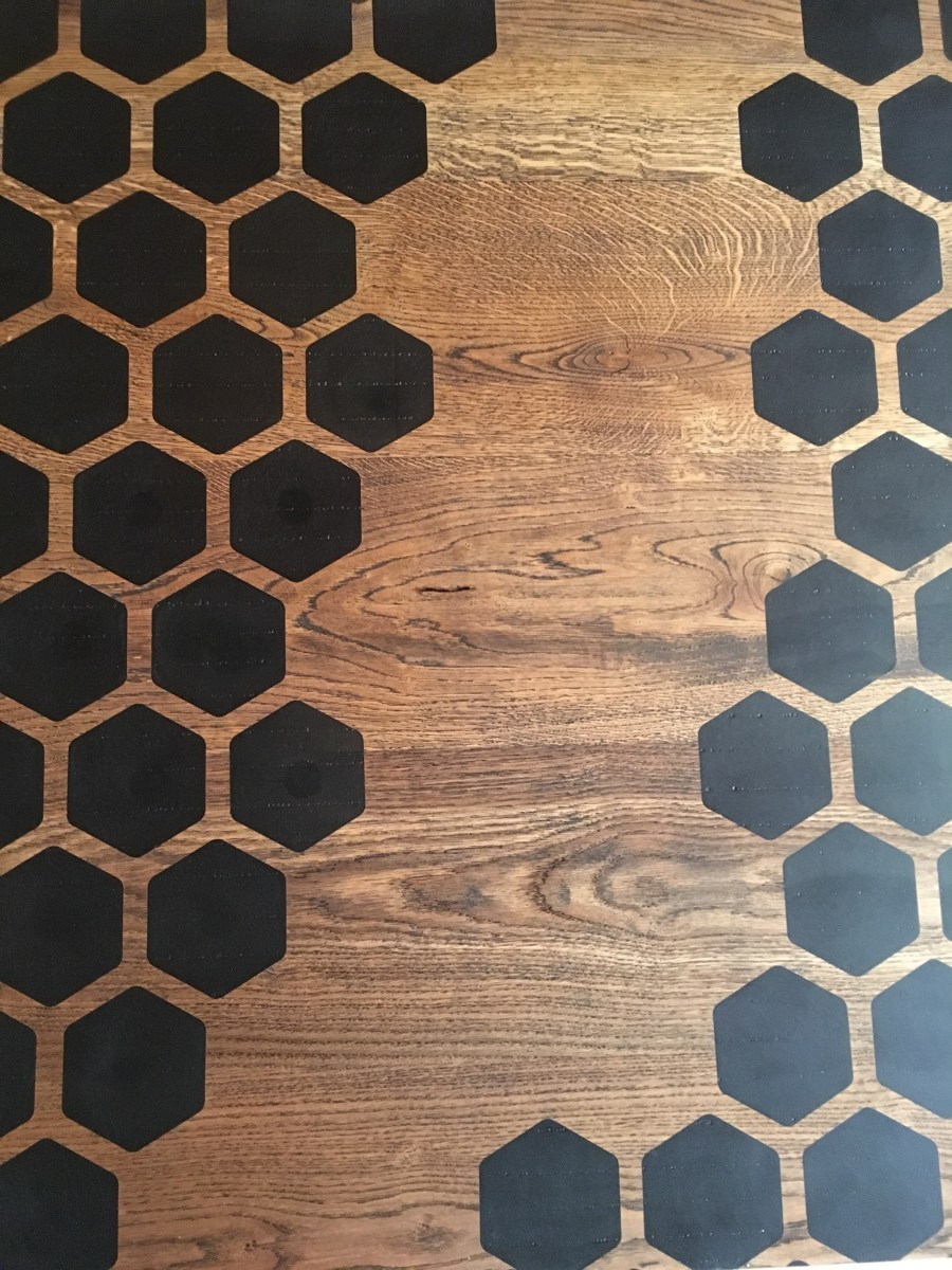 custom hexagon design on table top for bainbridge island client