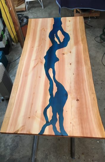 live edge river table custom made for client in seattle