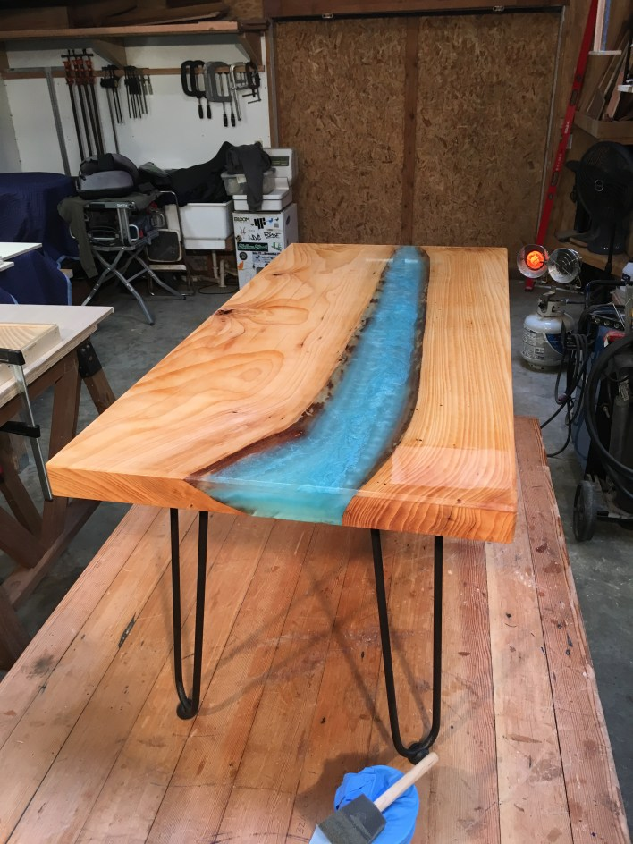 light blue river table from bainbridge island with hairpin legs