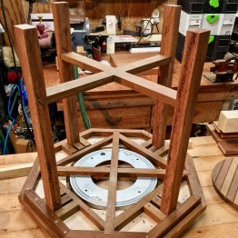spinning custom wood table details