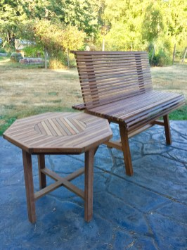 custom designed and built matching table and bench for local customer