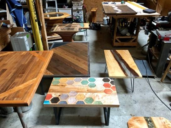 collection of custom tables with fabricated legs bainbridge island