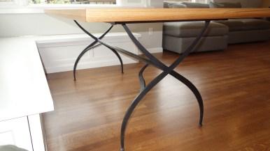 legs on custom fabricated table installed