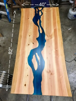 live edge river table with blue epoxy