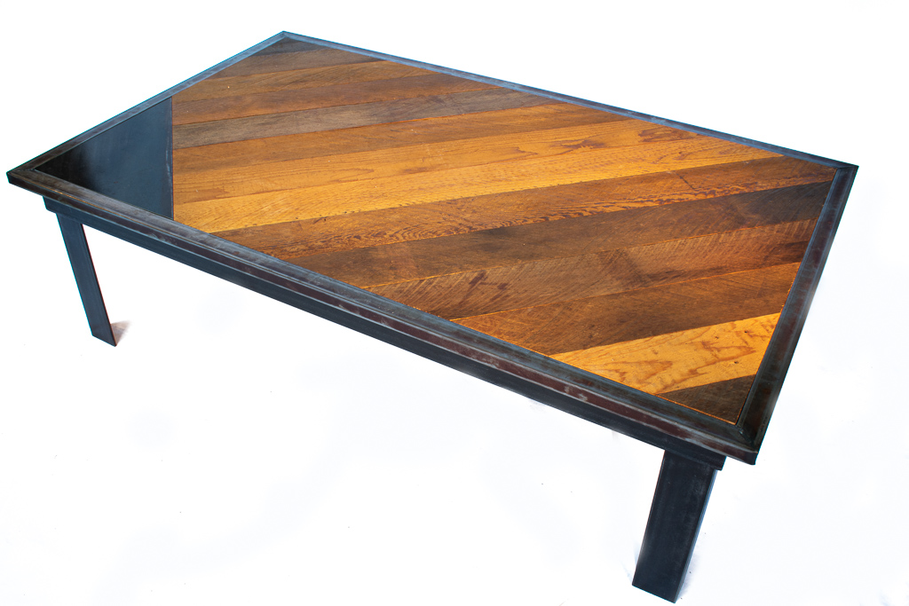 alternate angle of steel and cedar table
