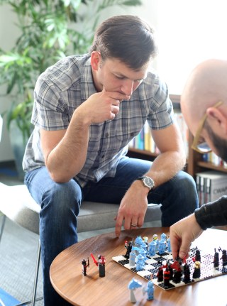 Metageek founder Ryan Wooding's playing LEGO chess