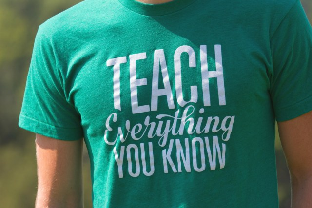 """ConvertKit founder Nathan Barry wearing his """"Teach Everything You Know"""" t-shirt"""