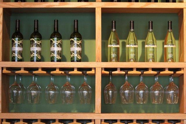Cinder wines on display