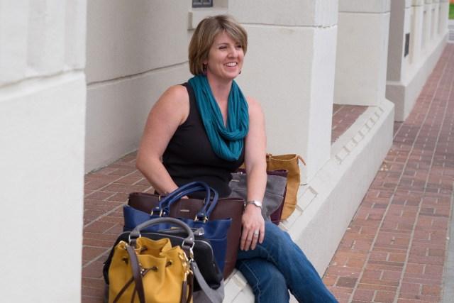 Bella Modi founder Kim Mitchell-Catlett with purses