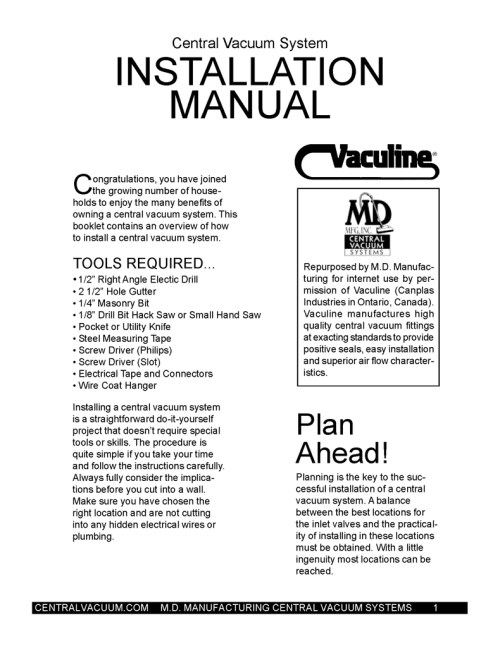 small resolution of central vacuum system installation manual