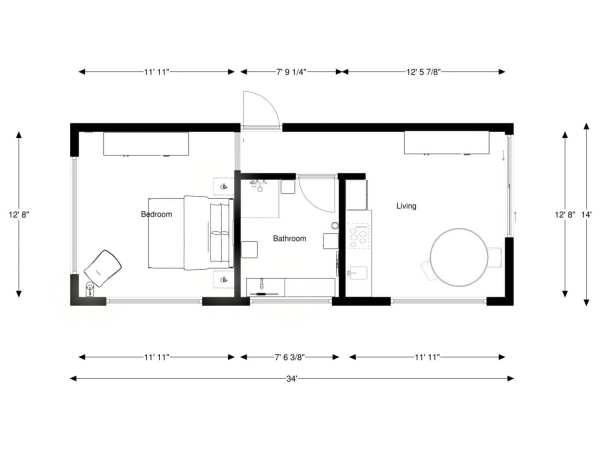 Built Prefab Modular Homes Pod Floorplan Rendering