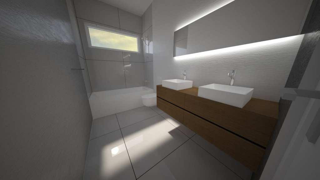 Built Prefab Modular Homes Dakota Bath Rendering