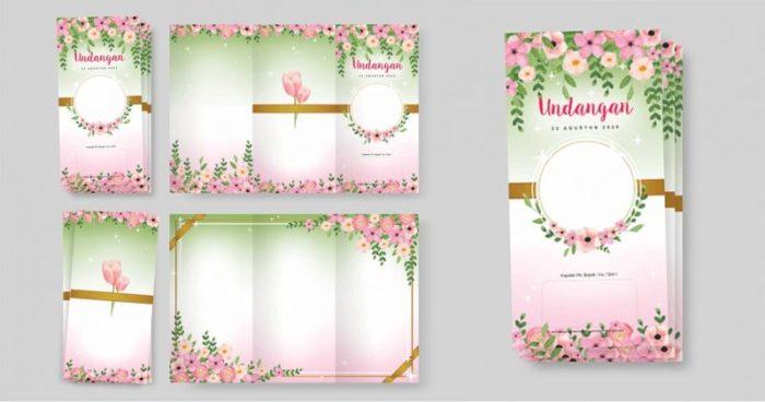 Contoh Undangan Pernikahan Gambar Bunga