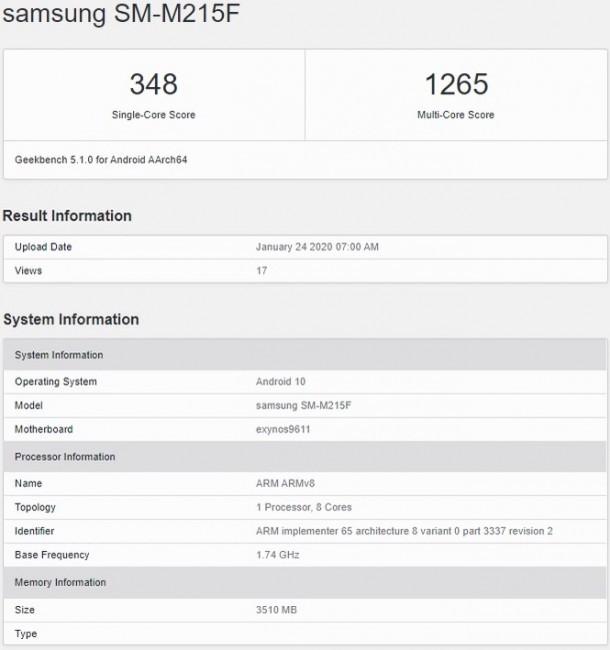 Samsung Galaxy M21 key specs confirmed by Geekbench