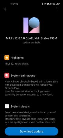 Xiaomi MI 10 Pro MIUI 12 changelog