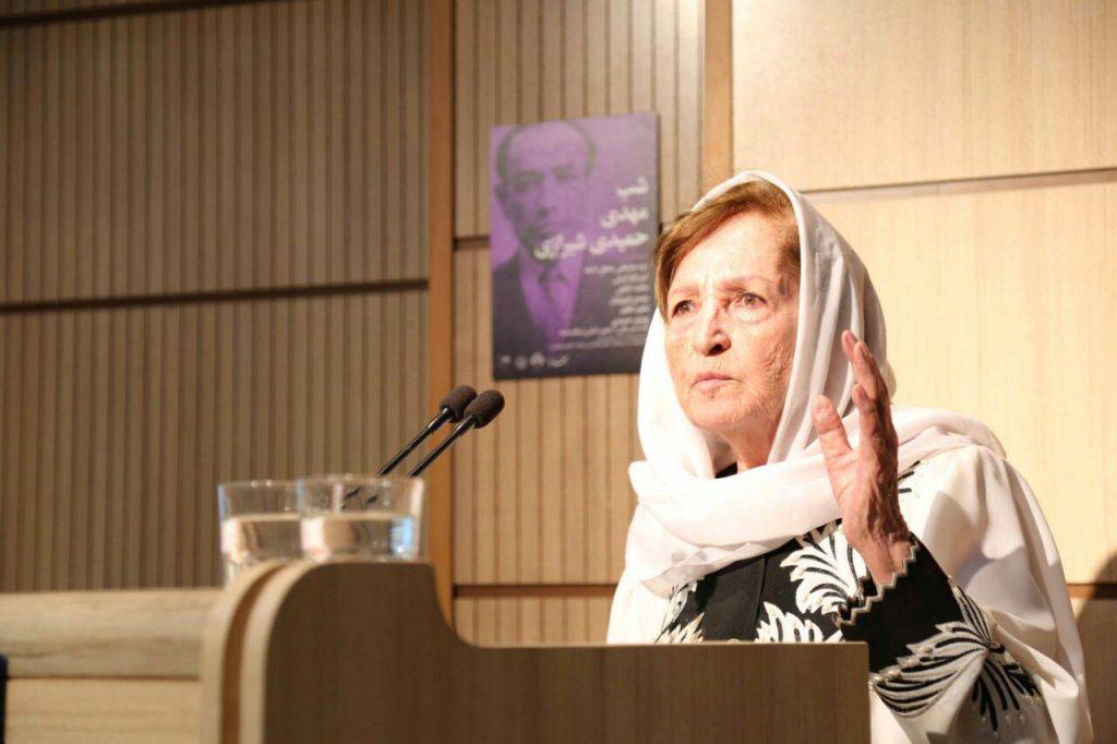 قدردانی ناهید افخم از سخنرانان و برگزارکنندگان شب حمیدی شیرازی