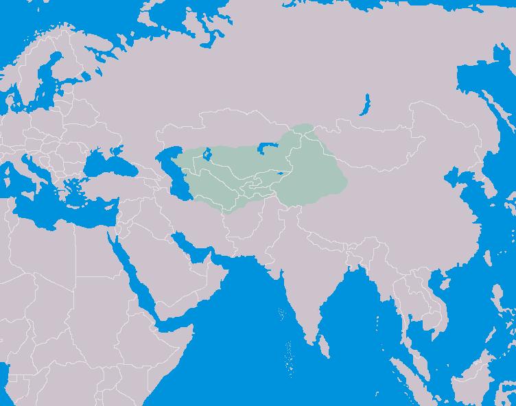 خارطة تبين موقع تركستان.