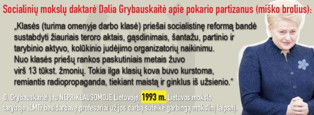 Grybauskaitė apie partizanus