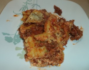 Lasagna is served