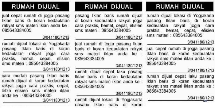 Contoh Iklan Baris Penjualan di Koran singkat