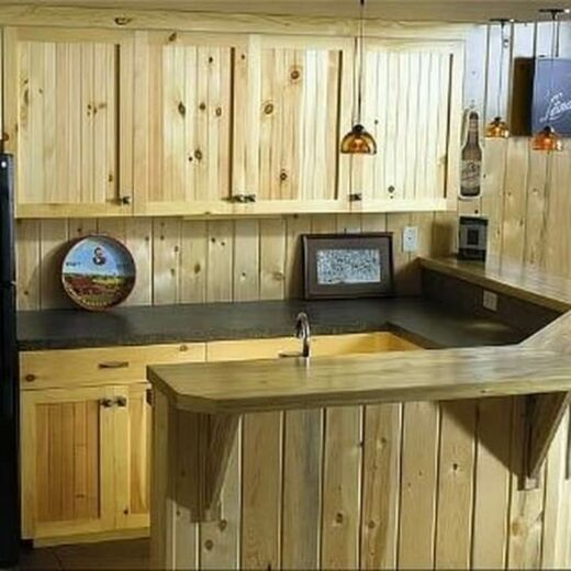 Desain dapur cantik berdinding kayu
