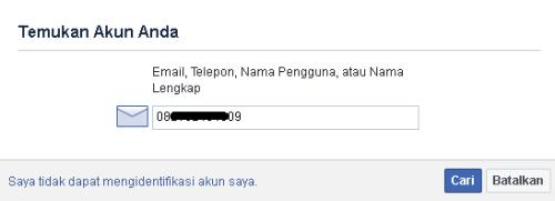 cari akun facebook melalui no hp, email, nama pengguna dan nama akun