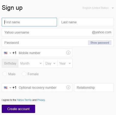 laman pengisian formulir pendaftaran yahoo