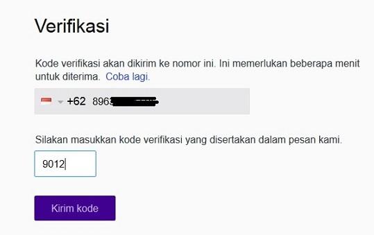Masukkan Kode Verifikasi Yahoo Untuk Menyelesaikan Proses Pendaftaran Yahoo