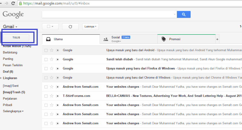 cara mengirim file lampiran lewat email gmail (laman inbox gmail)