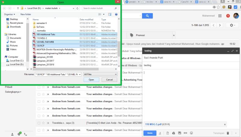 cara memilih dan melampirkan file yang akan di kirim melalui gmail