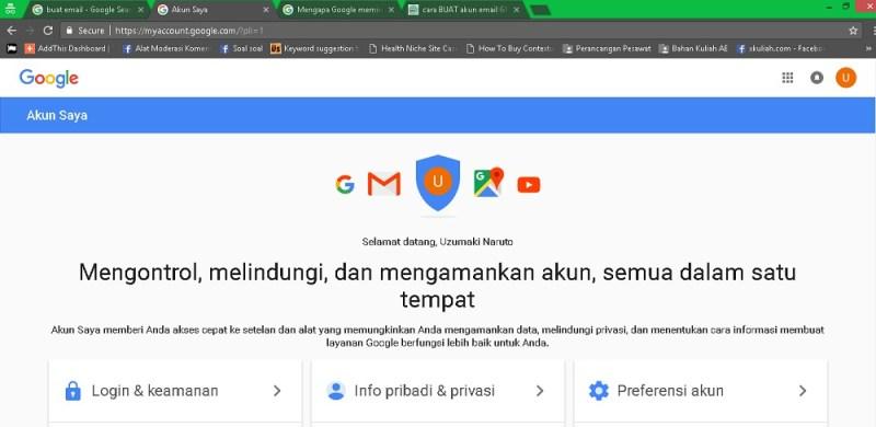 laman pengaturan akun saat selesai buat email gmail